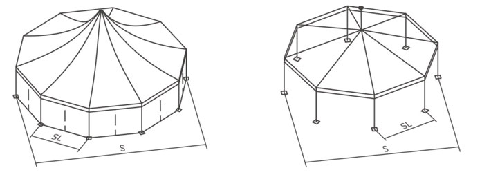 High peak Multi-sided Tent Internal structure
