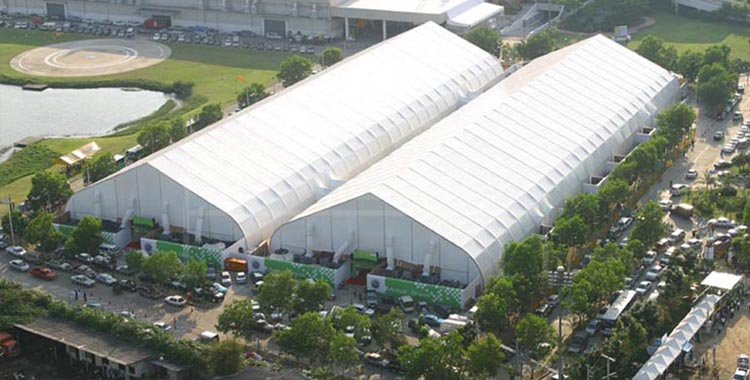Huge curved tent for trade show fair [XLS series]