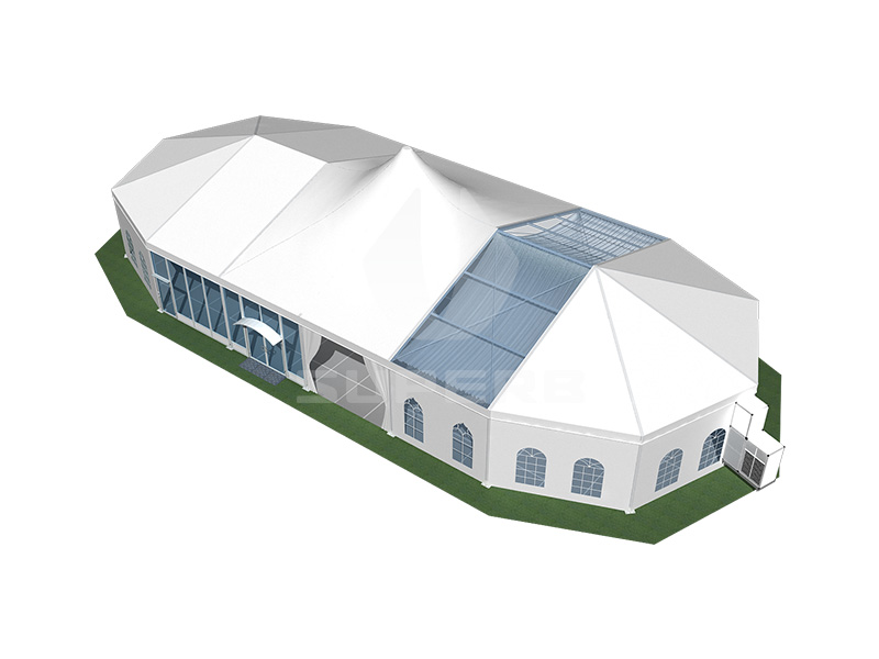 High peak wedding tent with decoration lining