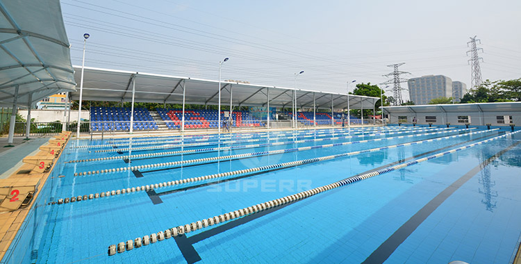 Swimming pool grandstand tent