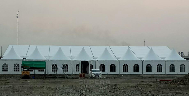white party tent with windows and sidewalls