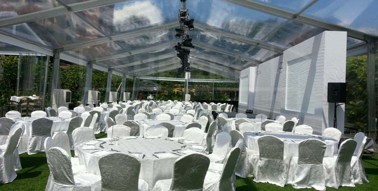 big outdoor transparent wedding party tent