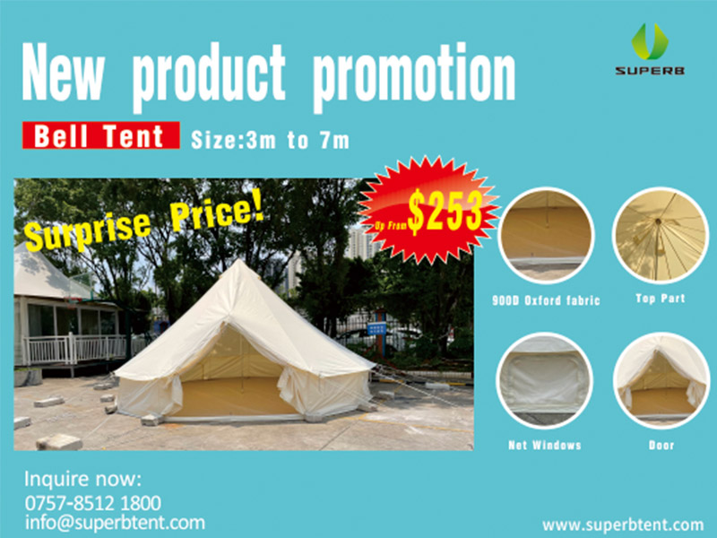 New bell tent promotion, size 3m to 7m, up from $253.